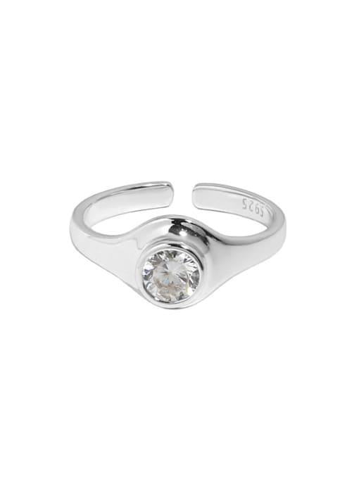 Silver [14 adjustable] 925 Sterling Silver Rhinestone Geometric Minimalist Band Ring